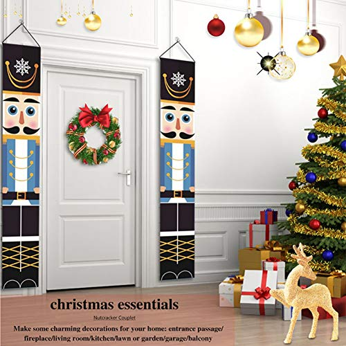 Meanwell Nutcracker Christmas Decorations - Outdoor Xmas Decor - Life Size Soldier Model Nutcracker Banners for Front Door Porch Garden Indoor Exterior Kids Party Yard Gate 1 Pair 32x180cm