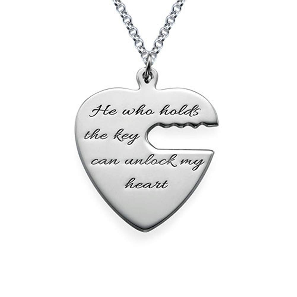LAOFU Engraved Key to My Heart Couple Necklace Customized Necklace with Any Name Word Date
