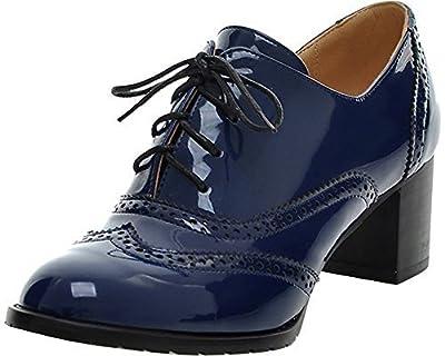 Women's Oxford Leather Mid heel Shoes-BEAUTOSOUL-Dress Pumps