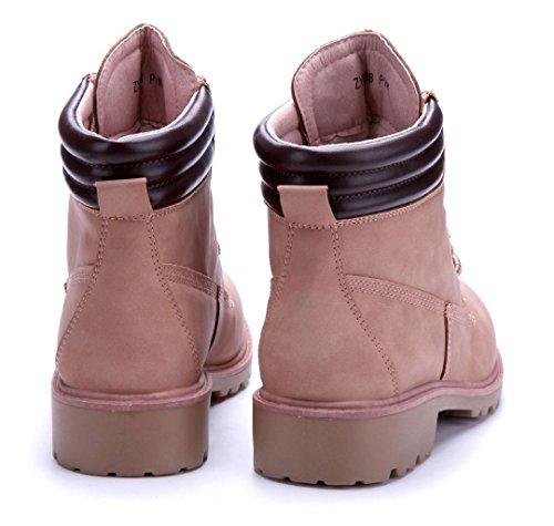 Schuhtempel24 Damen Schuhe Boots Stiefel Stiefeletten Blockabsatz 4 cm Rosa