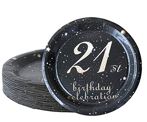 21st birthday decorations party supplies set,21st birthday gifts for her or him, 50 piece paper plates,9 x 9 Inches. (21)]()