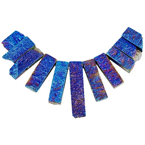 SUNYIK Blue Titanium Coated Crystal Loose Bead for Jewelry,Druzy Quartz Bar Shield Bead,11Pcs/Set