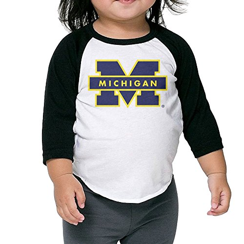 fan products of Kid's Michigan Wolverines Toddler Boy Girl 3/4 Sleeve Raglan Shirts 100% Cotton 3 Toddler