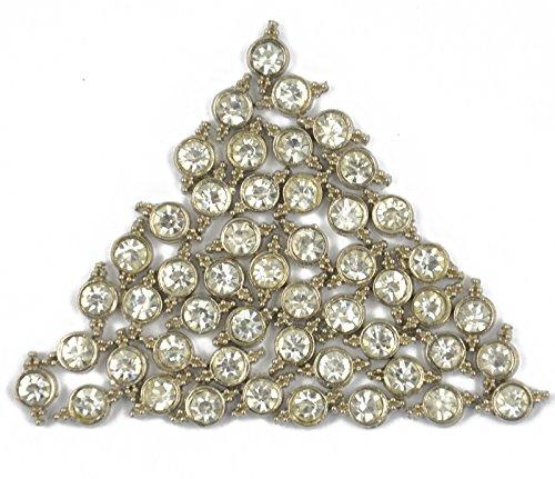50Pcs Clear Rhinestone 2 Hole Spacer Bar Alloy Beads