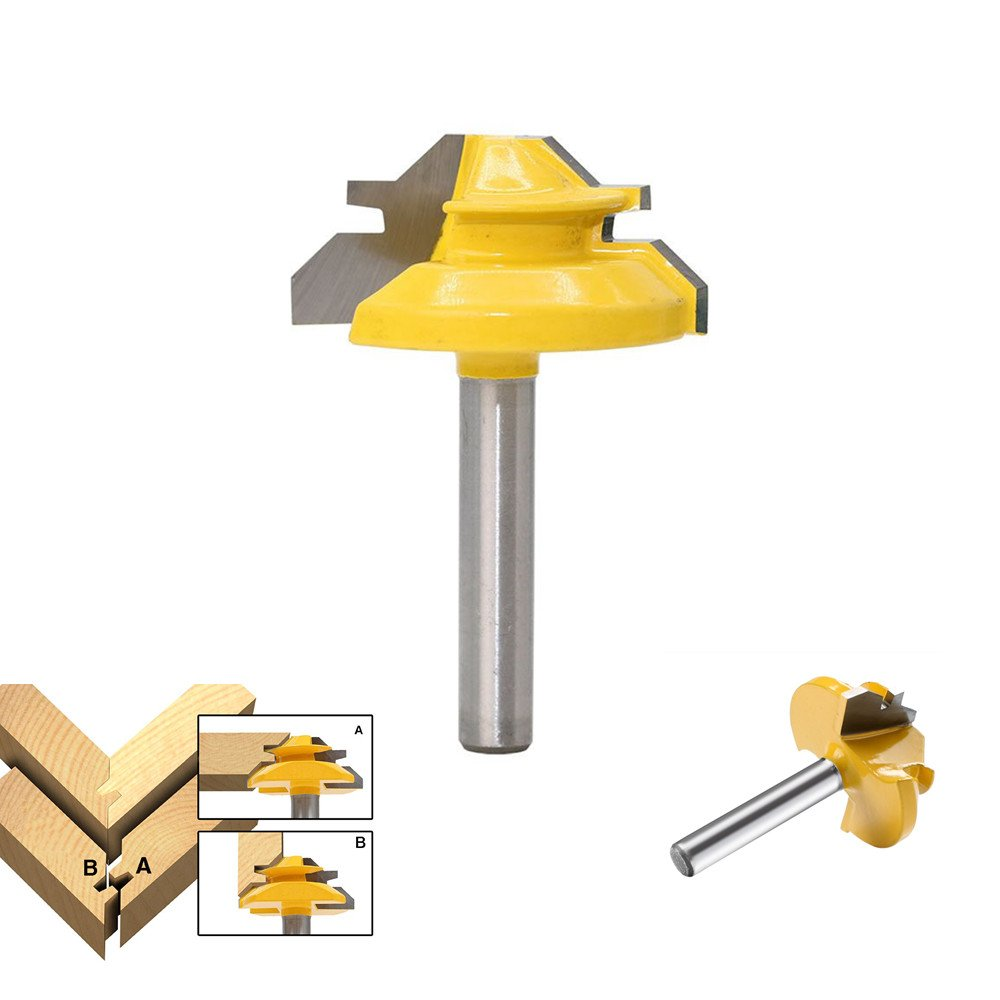 FOREVERHOPE 1/4 Shank 1-3/8 Diameter 45 Degree Lock Miter Router Bit Wood Cutter for Woodworking Drilling Power Tools