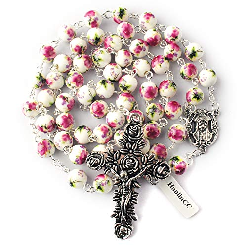 HanlinCC 8mm Round Ceramic Beads with Flower Painting Catholic Rosary Necklace with Maria Center Piece and Flower Cross with Leather Gift Box