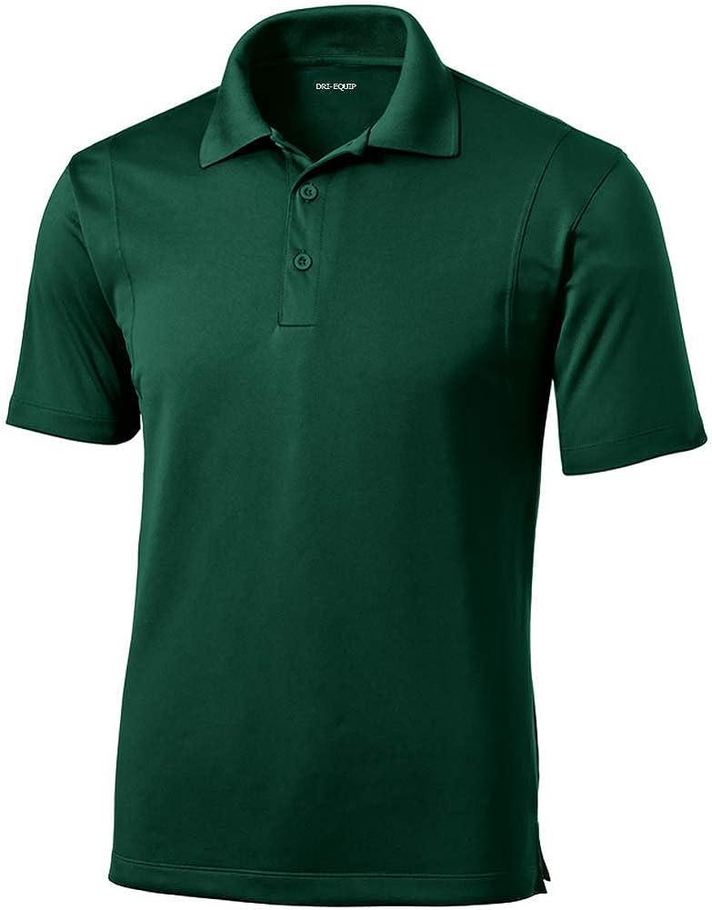 DRI-Equip Mens Moisture Wicking Micropique Golf Polo-Forest Green-2XL