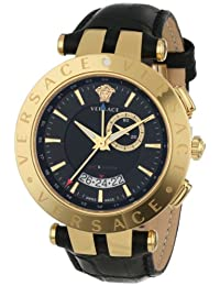 Versace Men's 29G70D009 S009 V-RACE Round Yellow Gold Ion-Plated Stainless Steel GMT Alarm Date Watch