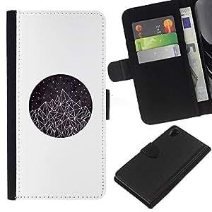 Montañas Triángulo del Arte Estrellas- la tarjeta de Crédito Slots PU Funda de cuero Monedero caso cubierta de piel Para Sony Xperia Z2 D6502