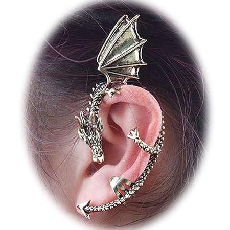 mejor ahorre hasta 80% el precio más bajo Fashion Punk Silver Oriental Dragon Ear Wrap Cuff Clip On Earring ...