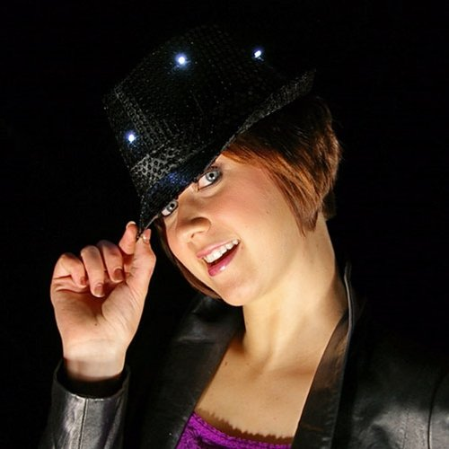 [LED Lighted Fedora Hat with Sequins, Battery, Multi Function, BLACK] (Michael Jackson Black Or White Costume)