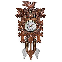 GPFDM Handcrafted Wood Cuckoo Clock,Black Forest Quartz Wall Clock,Pendulum Movable Bird,Multi Scenario Application