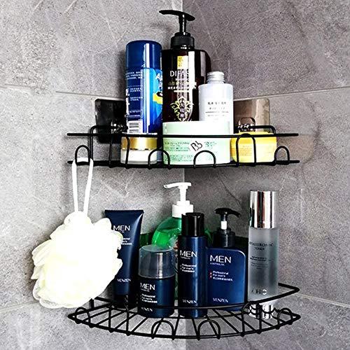 Laimew Shower Basket with Hooks No Drilling Bathroom Shelf Organizer Kitchen Basket Rack, 2 Pack (Black)
