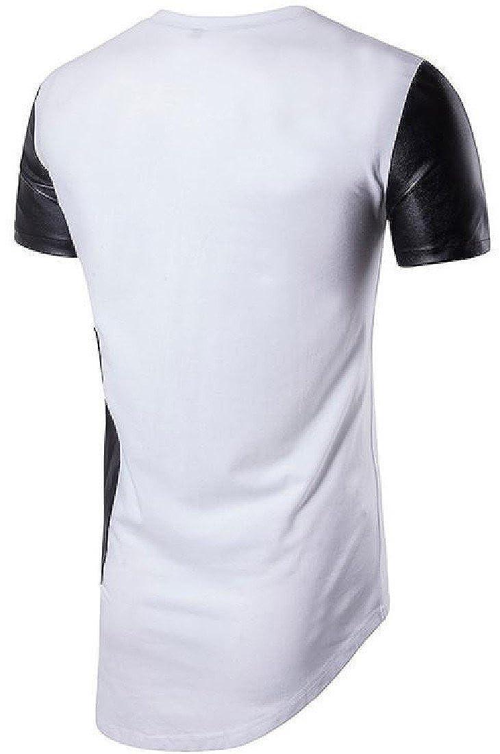 Honey GD Mens Round Neck Irregular Hip Hop Style Comfort T-Shirt Top