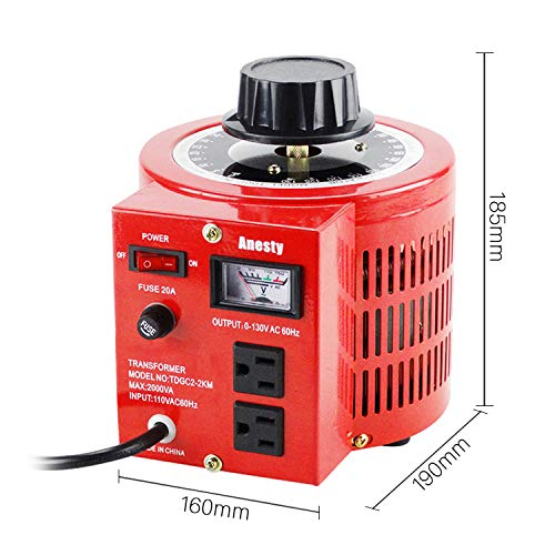 Anesty Auto Transformer AC Variable Voltage Converter Transformer Regulator 2KVA 0-130V (L) by Anesty (Image #6)