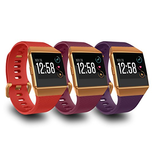 AIUNIT Compatible Fit bit Ionic Bands for Men Women Teens Kids Small with Burnt Orange Buckle, Replacement Strap Sport Accessory Wristband for Fit bit Ionic Smart Watch Red Fuchsia Plum
