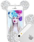 Iphone SE Cases, Crosspace® Flexible Micky 3D Bling Crystal Ears TPU Bumper with Sling Shell - Bear Ears/ Mouse Ears/ Diamond Ear Design Soft Cover for Apple Iphone SE/5/5S (Clear)