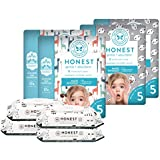 The Honest Company Super Duper Club Box with True Absorb Diapers & 288ct Designer Wipes, Pandas & Safari, Size 5, 80 Count