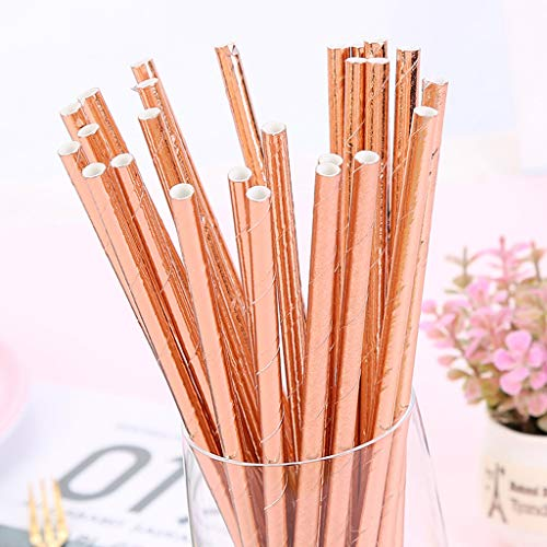 TTbuy Long 25pcs Disposable Drinking Straws Home Bar Party Cocktail Drink Straw,Rose Gold Paper Straw Disposable Straw Handmade Paper Straws Juice Dessert Cola Straw (Rose Gold)