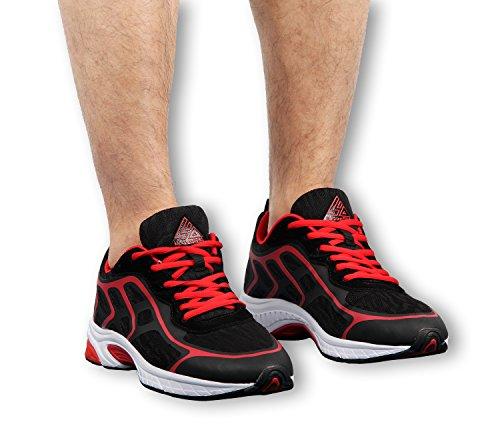iLoveSIA Mens Comfortable Running Shoes Black+Red AOHVuz29CK