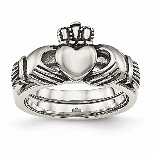 Perfect Jewelry Gift Stainless Steel Love, Loyalty, Friendship Claddagh Double Hinged Ring by Jewelry Brothers Rings (Image #1)'