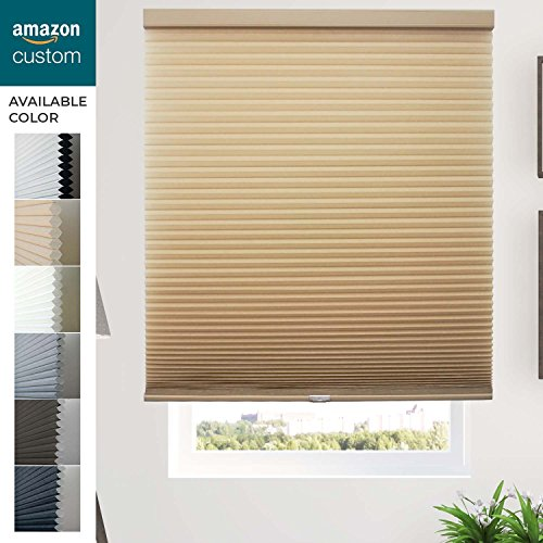 Filtering Orange Blinds Light (CHICOLOGY Custom Cordless Cellular Shade,Outside Mount,M. Croissant-Privacy/Light Filtering,22 1/4
