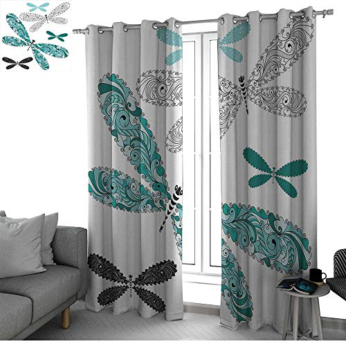 Dragonfly Sound Asleep Room Curtains Ornamental Dragonfly Figures with Lace and Damask Effects Artsy Image Blackout Curtain Teal Turquoise Black W120 x L108 Inch ()