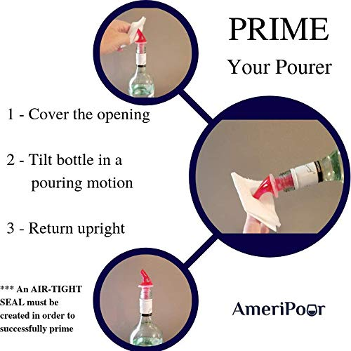 AmeriPour – Measured Pourers For Liquor - No Collar - Made 100% In The USA. Bar Spouts That Don't Leak - No Cracks, Just A Perfect Cocktail Pour Every Time. (Amber, 1.5oz (45ml) - 3 Pack)