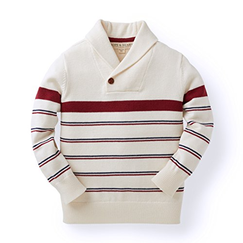 Striped Boys Sweater - Hope & Henry Boys' Tan and Red Striped Sweater with Shawl Collar Made with Organic Cotton
