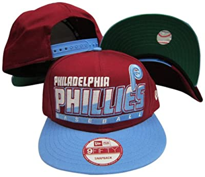 Philadelphia Phillies Maroon/Light Blue Two Tone Snapback Adjustable Plastic Snap Back Hat / Cap