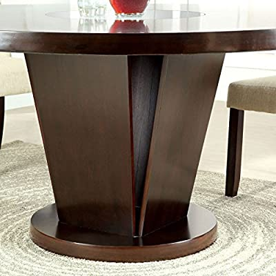Cimma Contemporary Style Espresso Finish Round Dining Table Set