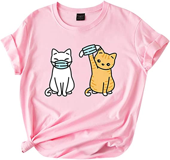 Cat Shirts for Teen Girls Women Funny Novelty Graphic Tee Shirts Tops