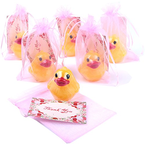 AiXiAng Handmade 6 Pack Cute Duck Soap Favor+ Drawstring Gift Bags + Thanks Cardss for Wedding Soap Favors and Gifts or Baby Shower Soap Favors