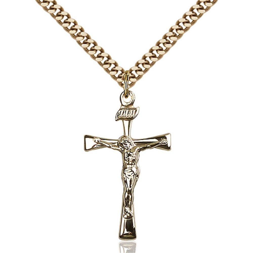 ゴールドFilledマルタ十字架ペンダント1 1 / 8 x 5 / 8インチwith Heavy縁石チェーン   B00P5NZMRI