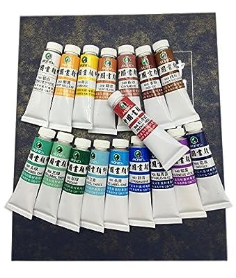 Marie's Premium Chinese Painting Pigment Color Tubes Watercolor Set 9ml18colors