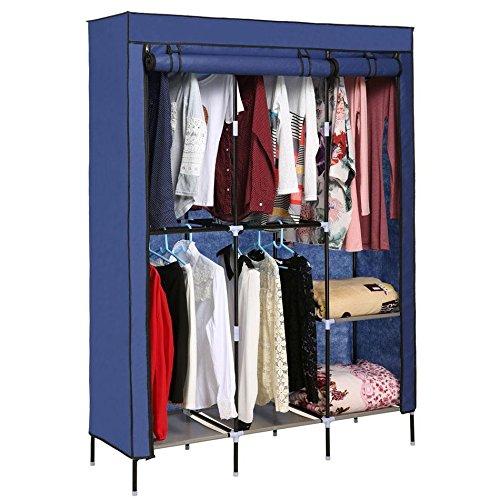TelDen Portable Clothes Closet Home Wardrobe Clothes Storage Organizer with Shelves Blue (US Stock)
