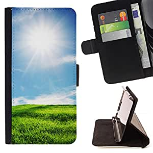 - Sunny scenery - - Monedero PU titular de la tarjeta de cr????dito de cuero cubierta de la caja de la bolsa FOR Samsung Galaxy S5 Mini, SM-G800 RetroCandy
