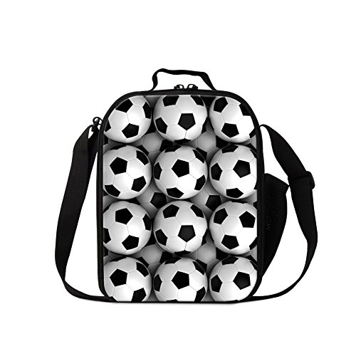 Dispalang Soccer Printed Lunch Bags for boys Cool Insulated Cooler Bag Basketball Pattern Meal Bag for Girls by Dispalang