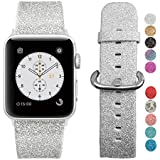 MIFFO Apple Watch Band 38mm, Leather iWatch Strap Extreme Deluxe Shiny Bling Glitter Leather Bracelet Wristband for Apple Watch Series 1, Series 2, Series 3 Sport Edition