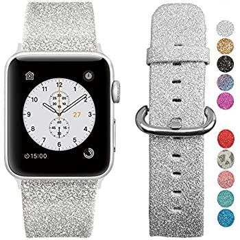 MIFFO Compatible Apple Watch Band 38mm 40mm 42mm 44mm, Leather iWatch Strap Extreme Deluxe Bling Glitter Bracelet Wristband Apple Watch Series 4 Series 3 ...