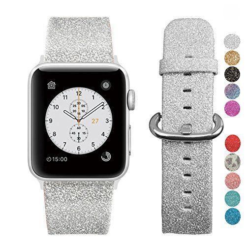 MIFFO Apple Watch Band 38mm 42mm, Leather iWatch Strap Extreme Deluxe Shiny Bling Glitter Leather Bracelet Wristband for Apple Watch Series 1, Series 2, Series 3 Sport Edition (Rainbow Leopard Bling)