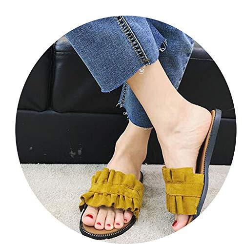 Women Sandals Flat Casual Female Ladies Slides Brown Suede Slip On Comfortable Open Toe 2018 ()