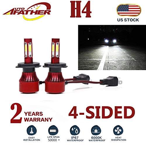 H4 9003 HB2 LED Headlight Bulb, 40W 6000K(White Light) 20000LM Extremely Brigh Hi&Low Dual Beam Conversion Kits Car Driving Lamps Replacement with 4-Side Chips - 2 Year Warranty