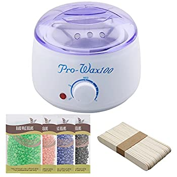 Electric Hair Removal Waxing Warmers Depilatory Machine with 4 Packs Hard Wax Beans and 50 pcs Wax Applicator Sticks Home Waxing Kit(White)