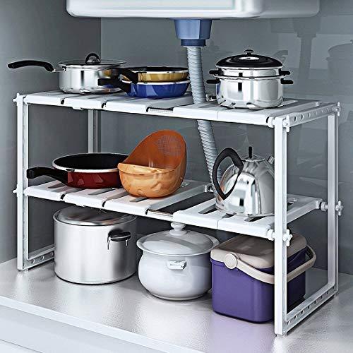 Under Sink 2 Tier Expandable Adjustable Kitchen Cabinet Shelf Storage Organizer