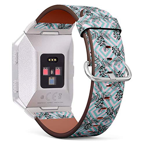 Compatible with Fitbit Ionic - Replacement Leather Wristband Bracelet with Stainless Steel Clasp and Adapters - Cone Winter Ink Geometric