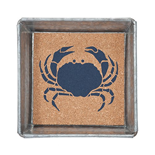 Blue Crab Napkin or Trinket Tray Square Galvanized Metal and