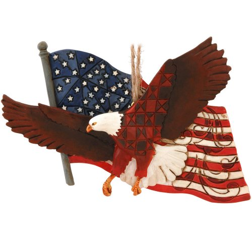 Enesco Jim Shore Heartwood Creek Eagle with Flag Ornament, 3-1/2-Inch