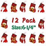 Solucky 12 Pack 6-1/4'' Felt Mini Christmas Stockings for Favors and Decorations