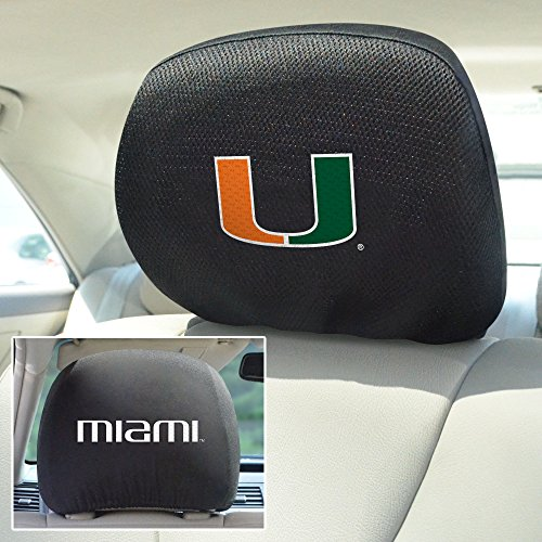 Ncaa Covers Headrest (FANMATS  12581  NCAA University of Miami Hurricanes Polyester Head Rest Cover)